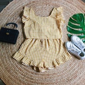 Mustard Gingham 2 piece Set (Top and short)